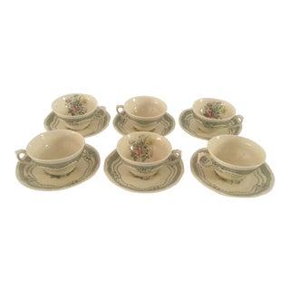 Vintage Cottage Style Floral Teacups & Saucers - Set of 6