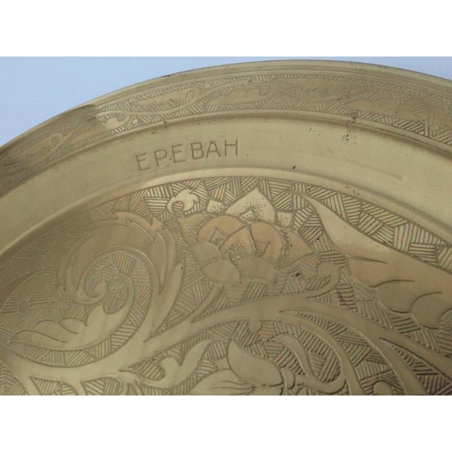 Vintage Mid Century Armenian Solid Brass Hand Etched Peacock Round Serving Tea Tray For Sale In Kansas City - Image 6 of 11