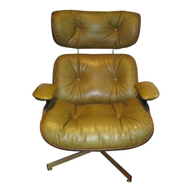 Frank Doerner Mid-Century Modern Chair & Ottoman Set Selig Plycraft Style - Image 8 of 11
