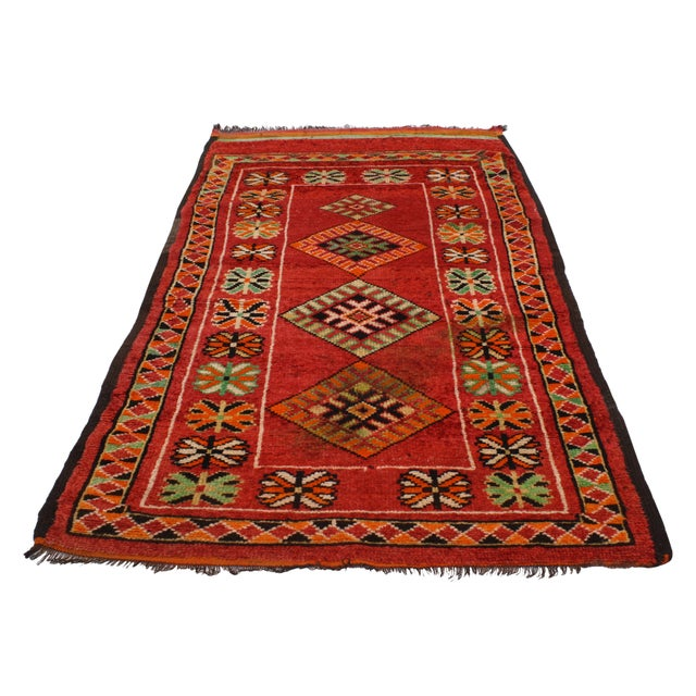 "Vintage Red Berber Moroccan Rug - 3'10"" x 6'6"" - Image 3 of 6"