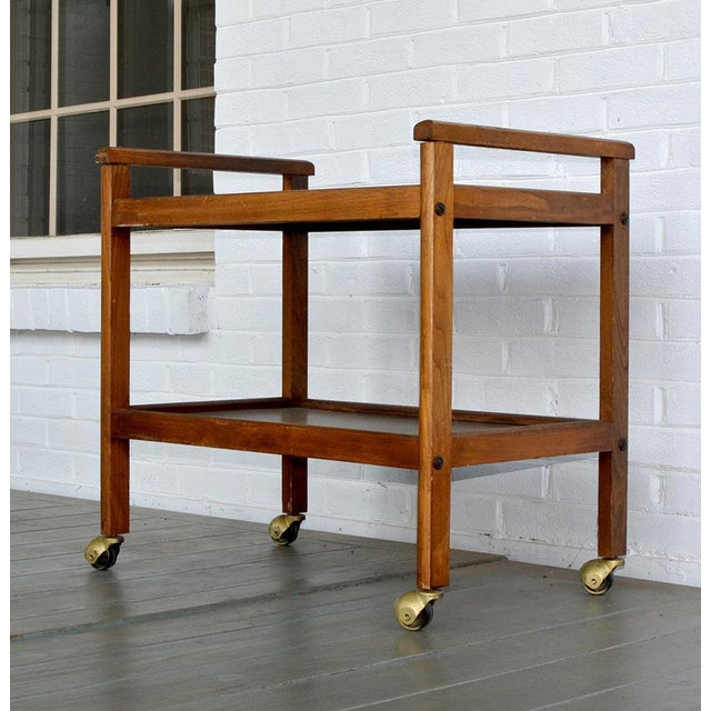 Walnut Two-Tiered Bar Cart - Image 2 of 11