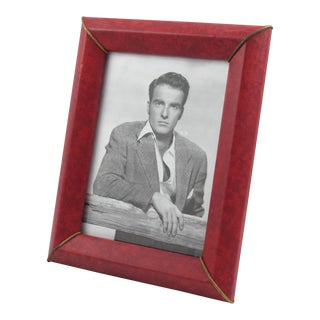 French Red Vinyl Leather Picture Frame For Sale