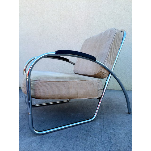 Art Deco Kem Weber Style Deco Chrome Chair by Royal Metal For Sale - Image 3 of 11