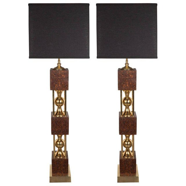 Brown Pair of Sculptural Mid-Century Modern Polished Brass and Cork Table Lamps For Sale - Image 8 of 8