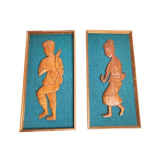1960s Asian Hand Carved Teak Wood Framed Thai Manohra Dancers on Vibrant Woven Fabric - 2 Pieces For Sale