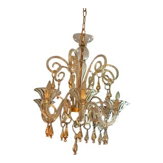 Venetian Gold & Clear Murano Glass Chandelier For Sale