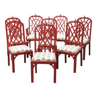Vintage Chinese Chippendale Pagoda Chairs - Set of 8