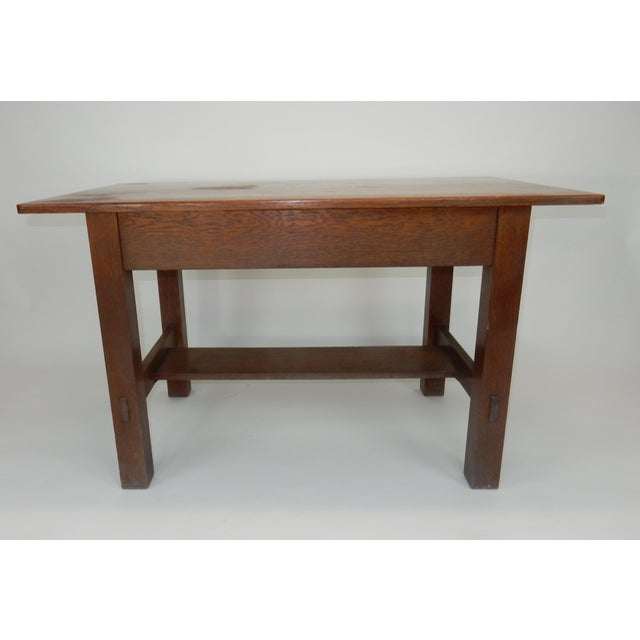 Brown Antique Signed Charles Limbert Mission Oak Library Table/ Desk For Sale - Image 8 of 13