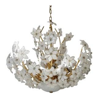 Organic Flower Bouquet Murano Glass Gilt Chandelier For Sale