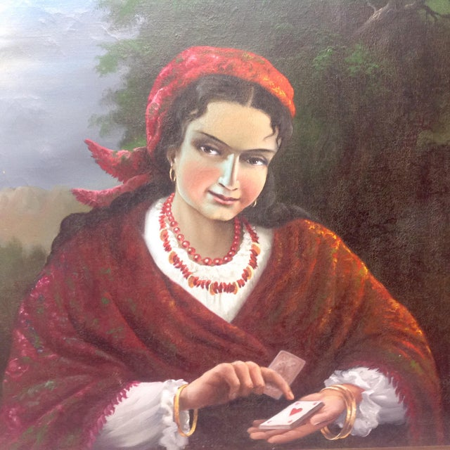Vintage Gypsy Woman Oil Painting - Image 3 of 10