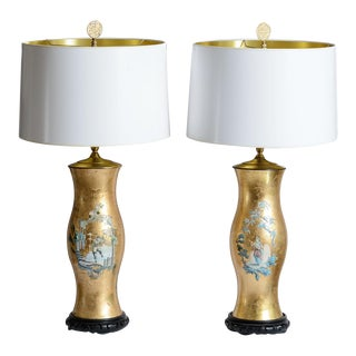 Chinoiserie Eglomise Glass With Gold Gilt Reverse Painted Table Lamps, A-Pair For Sale