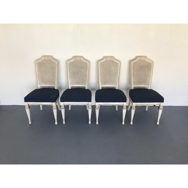 1970s Vintage Drexel Siena Furniture Italian Neoclassical Cane Back Dining Chairs- Set of 4 For Sale - Image 10 of 13