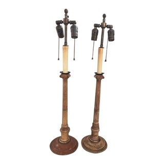 Vintage Neoclassical Style Candlestick Lamps - a Pair For Sale