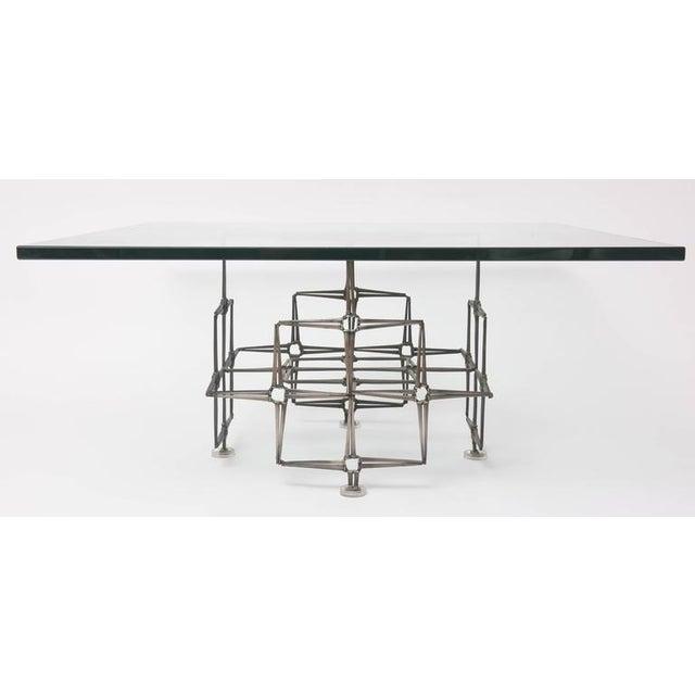 1980's Vintage Large Square Brutalist Nails & Glass Cocktail Table For Sale - Image 9 of 10