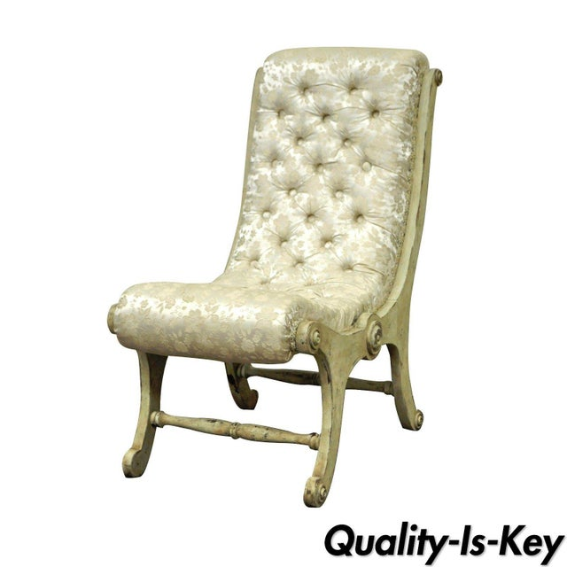 Antique Small Victorian Tufted Carved Wood Distress Painted Slipper Accent Chair - Image 11 of 11