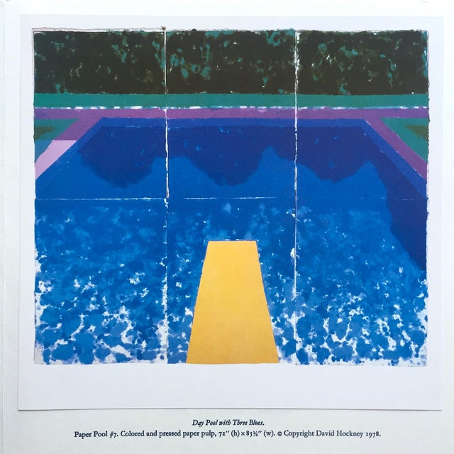 """1970s David Hockney Vintage 1978 Rare Tyler Graphics Iconic Lithograph Print """" Day Pool With Three Blues ( Paper Pool #7 ) """" For Sale - Image 5 of 13"""