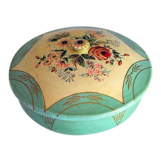 Vintage Japanese Floral Paper Mache Box For Sale