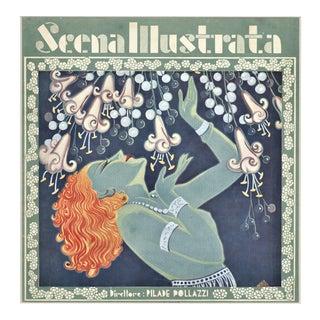 1935 Italian Theater Art Deco Beautiful Woman Print