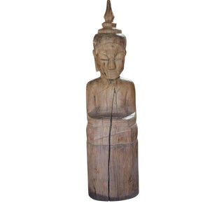 Carved Wood Seated Buddha Sculpture For Sale