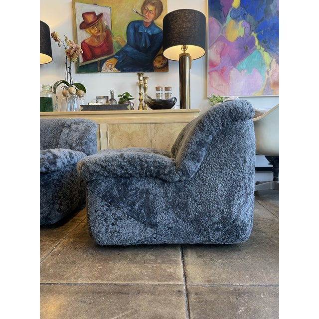 Reupholstered Curly Shearling Swivel Chair - 2 Available For Sale In Los Angeles - Image 6 of 10