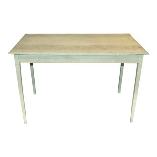 Antique Chippy Green Farm Table For Sale
