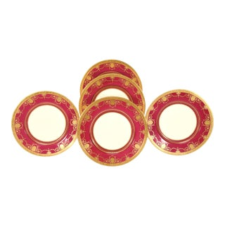"Set of 11 Minton Cranberry, Ivory & Raised Paste Gold 11"" Dinner Service Plates For Sale"