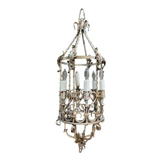 Wrought Iron Gilt Silver Chandelier, Circa 1880 For Sale