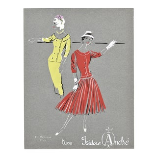 Matted Mid-Century French Fashion Pochoir For Sale
