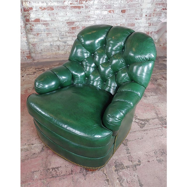 Americana Hancock & Moore Tufted Green Leather Club Chair with Ottoman For Sale - Image 3 of 11