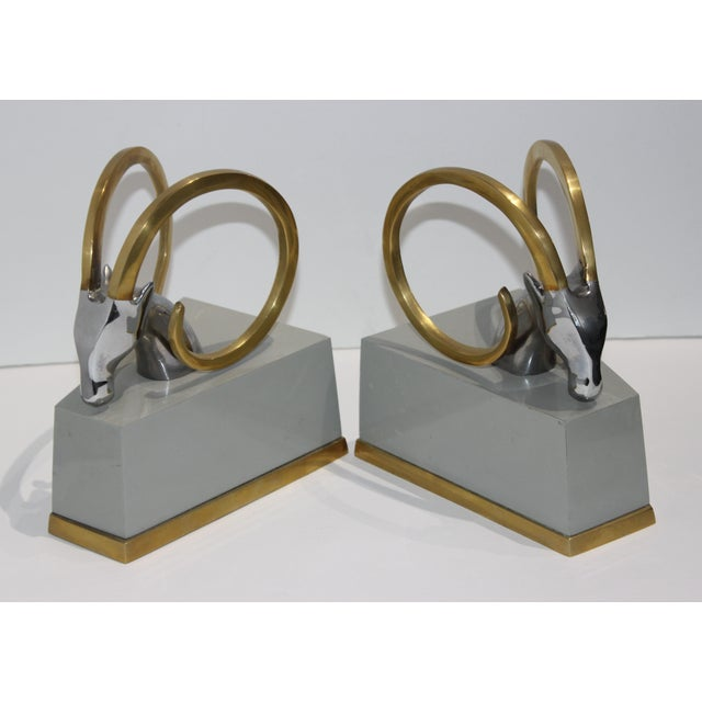 Art Deco Revival Gazelle Brass & Wood Bookends - a Pair For Sale - Image 10 of 10