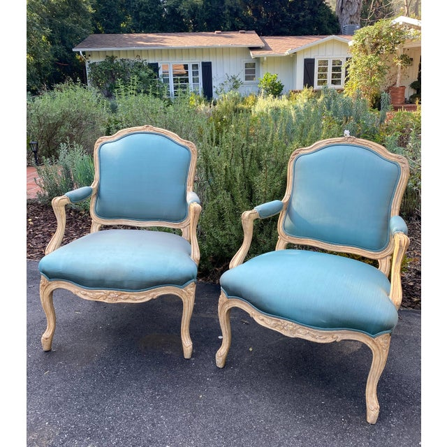 Wood Carved Upholstered Arm Chairs - a Pair For Sale - Image 9 of 9
