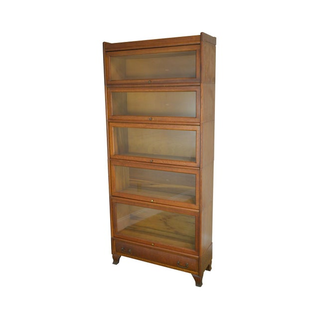Antique Oak 5 Section Stacking Barrister Bookcase With Drawer by Weis For Sale - Image 13 of 13