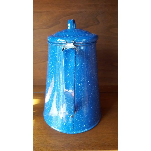American Vintage Blue Enamel Graniteware Enamel Tea Kettle For Sale - Image 3 of 13