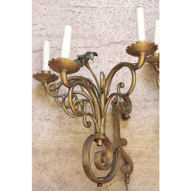Art Nouveau Golden Bronze Three Light Sconces - a Pair For Sale - Image 3 of 7