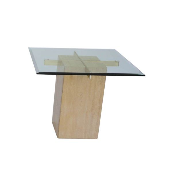 Travertine Brass & Glass End Table - Image 2 of 10