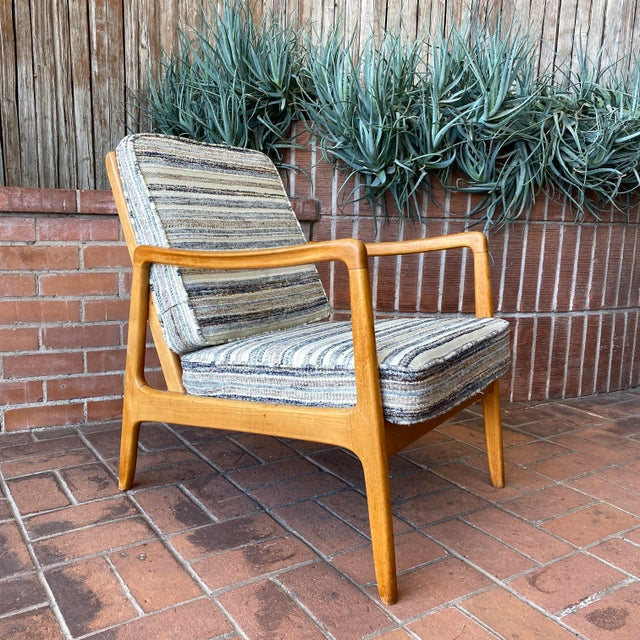 Cerulean Mid-Century Modern Ole Wanscher Lounge Chair for France & Daverkosen For Sale - Image 8 of 9