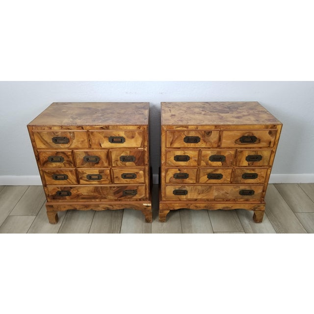 We are delighted to offer for sale this Fantastic pair of Italian Campaign style bracket feet, Parquetry 9 drawers, vivid...