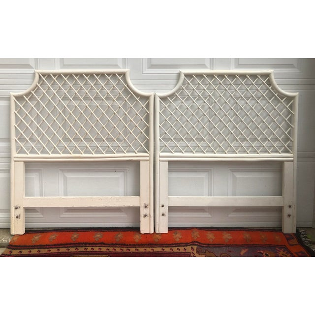 Vintage White Bamboo Rattan Latticed Pagoda Twin Headboards - a Pair For Sale In Charleston - Image 6 of 7