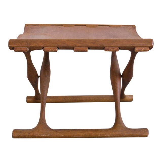Poul Hundevad Leather Folding Guldhoj Ph 43 Stool For Sale