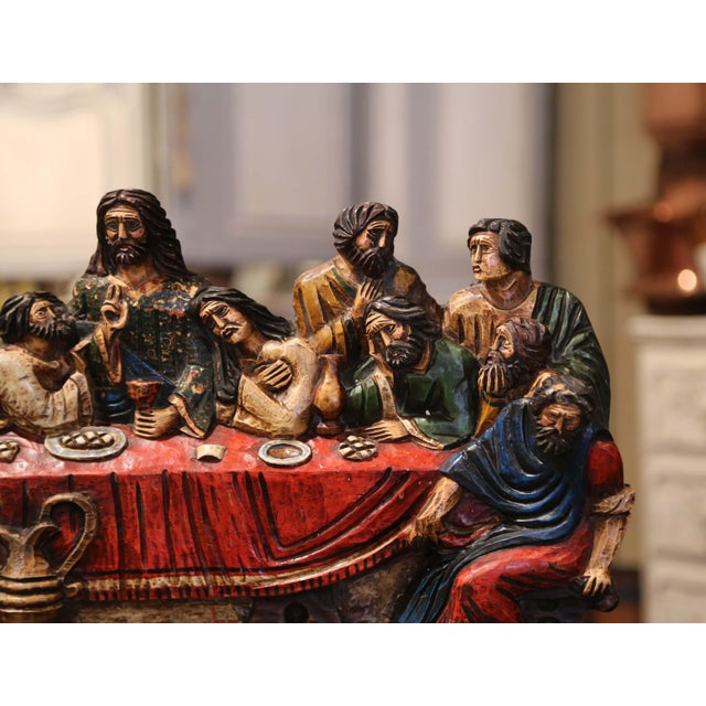 """Mid-20th Century Spanish Carved Polychromed and Gilt """"Last Supper"""" Sculpture For Sale In Dallas - Image 6 of 10"""