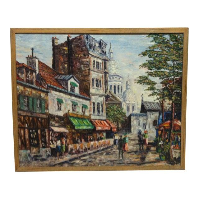 "Vintage Mid-Century ""Sidewalk Dining"" Original Canvas Painting For Sale"