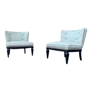 1950s Vintage Hollywood Regency Slipper Chairs - a Pair For Sale