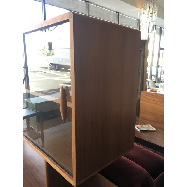 1950s Mid Century Modern Solid Teak Sideboard and Floating Hutch With Accordion Doors For Sale - Image 11 of 12