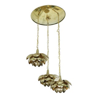 "Brass ""Lotus"" 3 Tier Pendant Light Fixture For Sale"