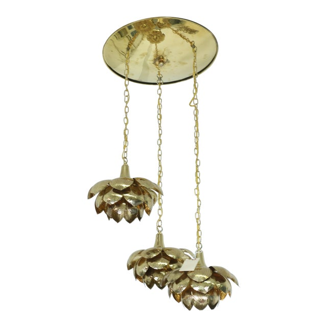 "Brass ""Lotus"" 3 Tier Pendant Light Fixture For Sale"