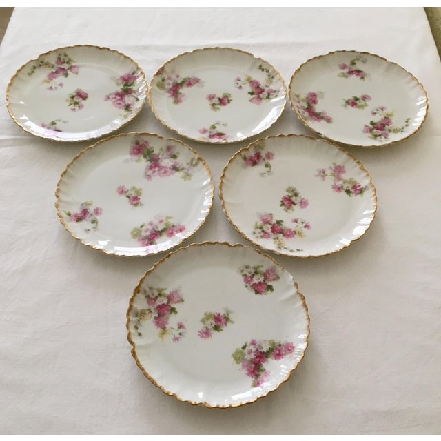 Pretty vintage set of six Haviland Limoges France dessert plates featuring gold rims and delicate pink and white flowers...