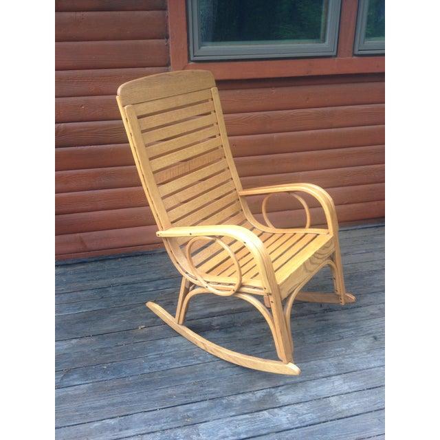 1990s Vintage R. Benna Bent Oak Slat Back Rocking Chair For Sale - Image 13 of 13