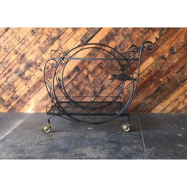 1940's Salterini Wrought Iron Rolling Outdoor Bar Serving Cart - Image 2 of 7