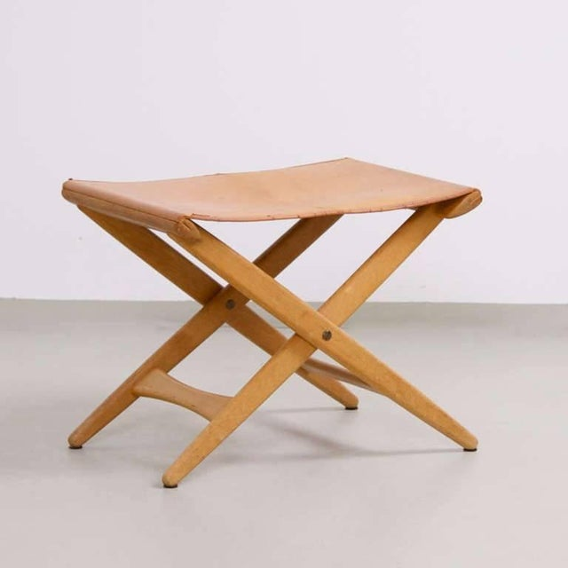 Luxus Vittsjö folding stool in original condition with natural leather cover