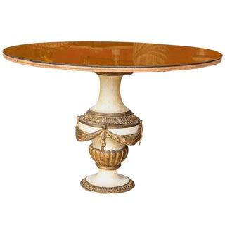 Antique Urn Form Base Verne Eglomise Center Glass Top Table For Sale